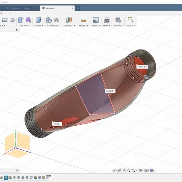 apprendre a dessiner un pas de vis pour imprimer le luminaire modulable.