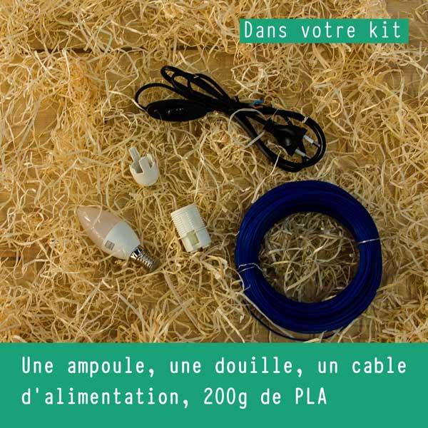 fabrique une lampe avec ton imprimante 3D grâce à ton kit La Boîte À Fil