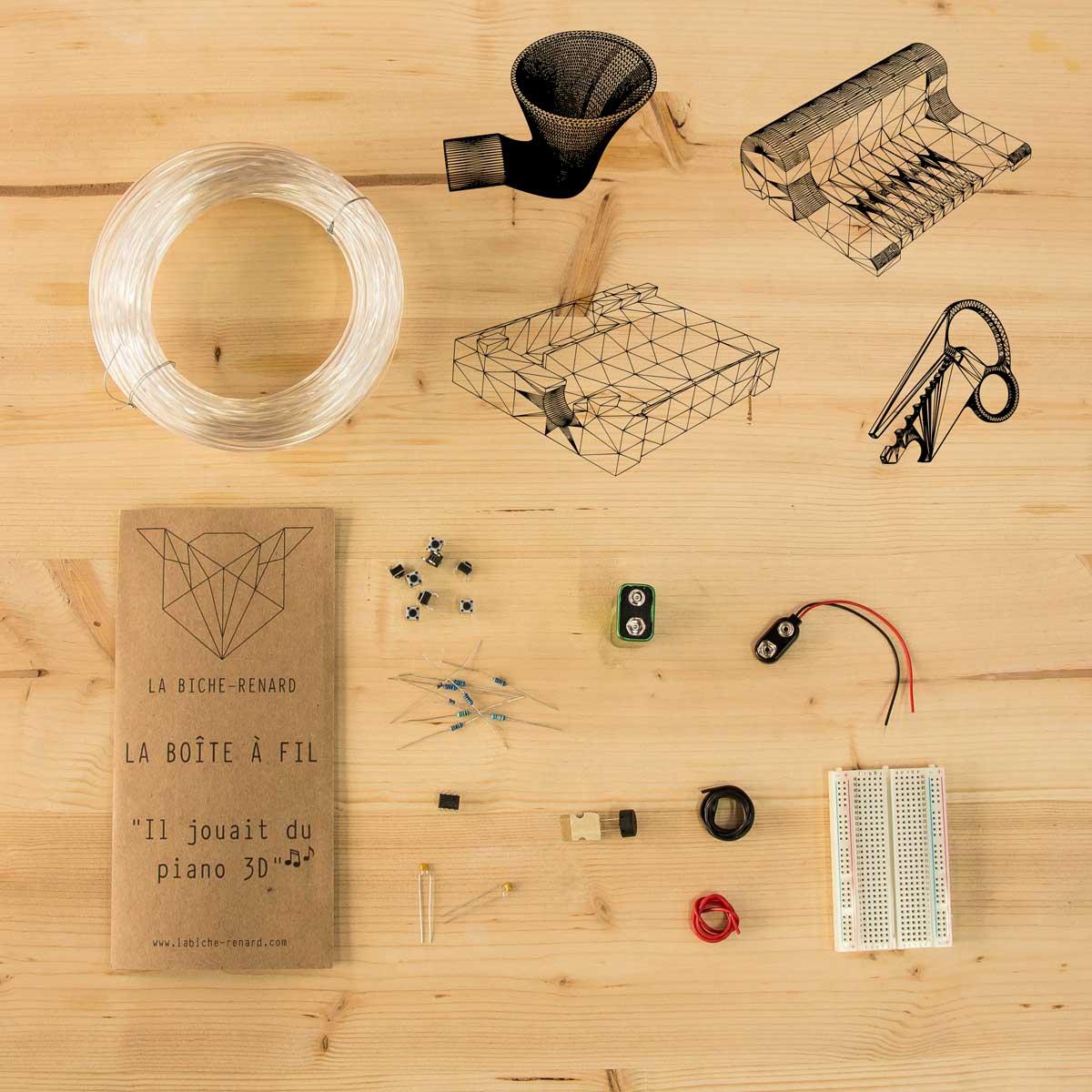 Recevez tout le nécessaire dans votre kit La Boîte À Fil pour fabriquer votre piano électronique imprimé en 3D.