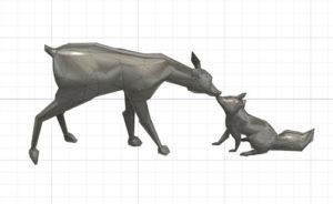 modélisation d'une biche et d'un renard sous fusion 360.